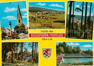 AK / Ansichtskarte Bischofsgruen mit Ochsenkopf Waldschwimmbad Huegelfelsen Kat. Bischofsgruen