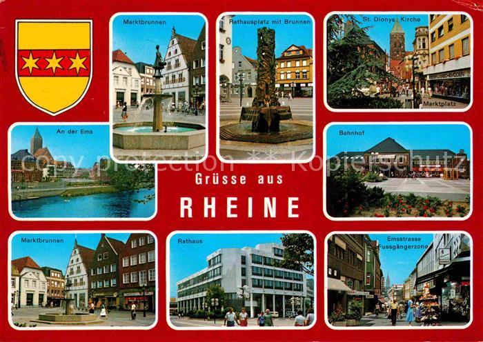 AK / Ansichtskarte Rheine Brunnen Rathaus Platz Kirche Bahnhof Fussgaengerzonne Partie an der Ems Kat. Rheine