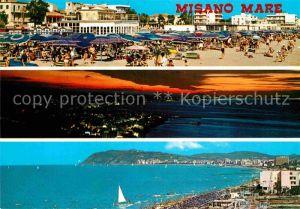 AK / Ansichtskarte Misano Mare Strand Panorama Kueste Sonnenuntergang Kat. Italien