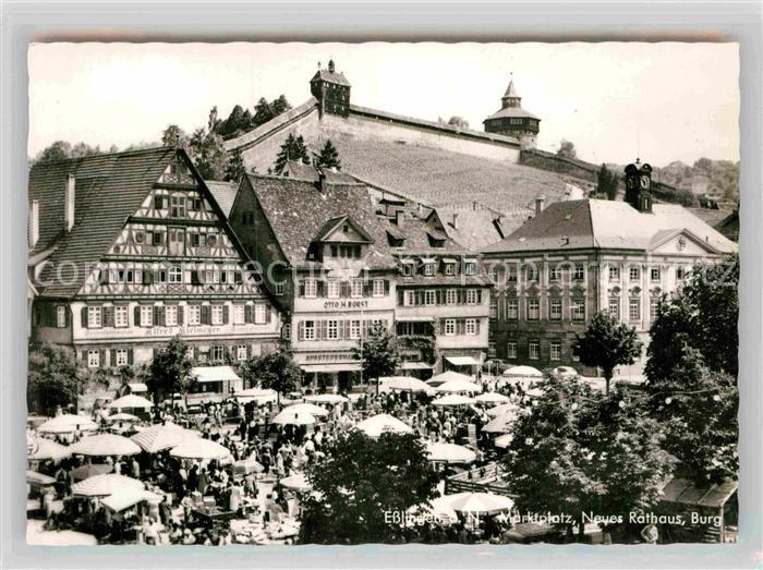 AK / Ansichtskarte Esslingen Neckar Marktplatz Neues Rathaus Burg Kat. Esslingen am Neckar