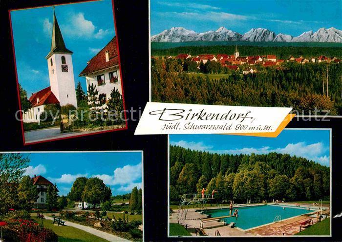 AK / Ansichtskarte Birkendorf Ortsmotiv mit Kirche Park Freibad Alpenkette Kat. uehlingen Birkendorf