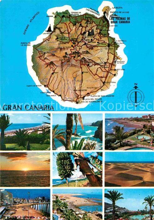 AK / Ansichtskarte Gran Canaria Inselkarte Teilansichten Kat. Spanien