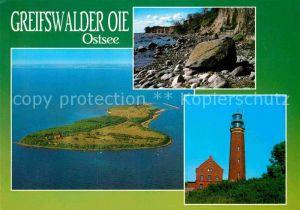 AK / Ansichtskarte Greifswalder Oie Ostseeinsel Kueste Leuchtturm Fliegeraufnahme