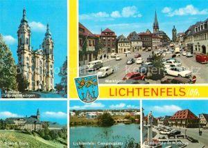 AK / Ansichtskarte Lichtenfels Bayern Basilika Vierzehnheiligen Marktplatz Stadtplatz Rathaus Campingplatz Schloss Banz Kat. Lichtenfels