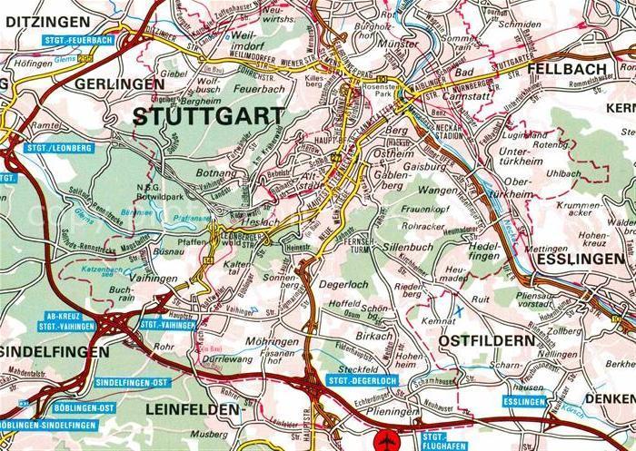 Ak Ansichtskarte Stuttgart Landkarte Kat Stuttgart Nr Kc09687