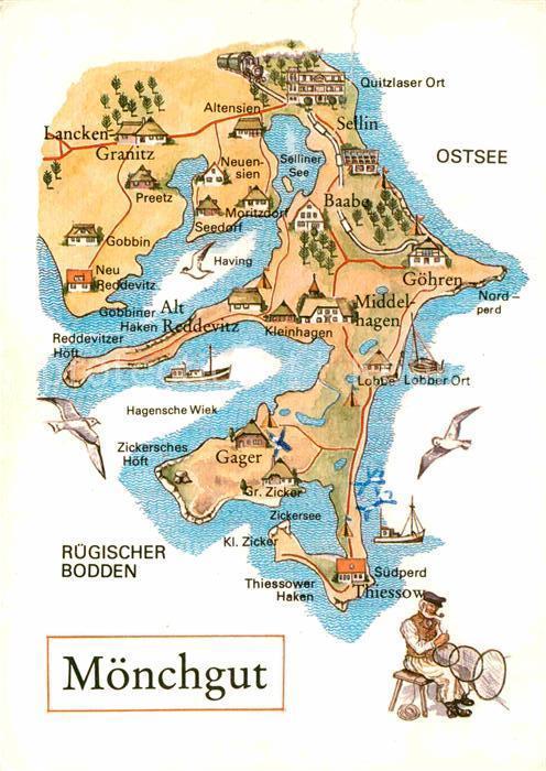 AK / Ansichtskarte Moenchgut Ruegen Landkarte Kat. Bergen