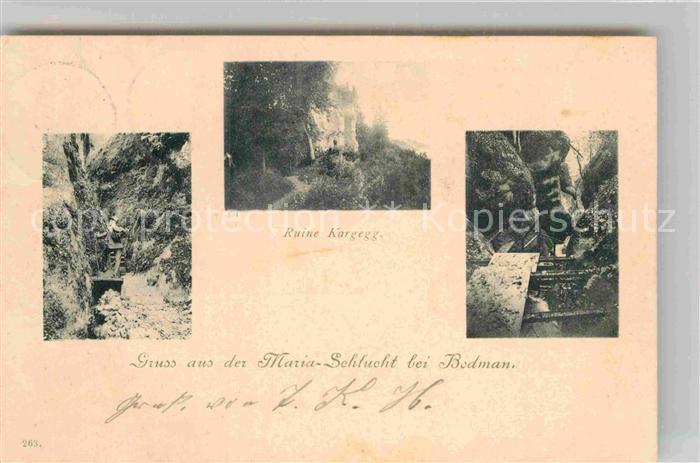 AK / Ansichtskarte Bodman Bodensee Maria Schlucht Ruine Kargegg