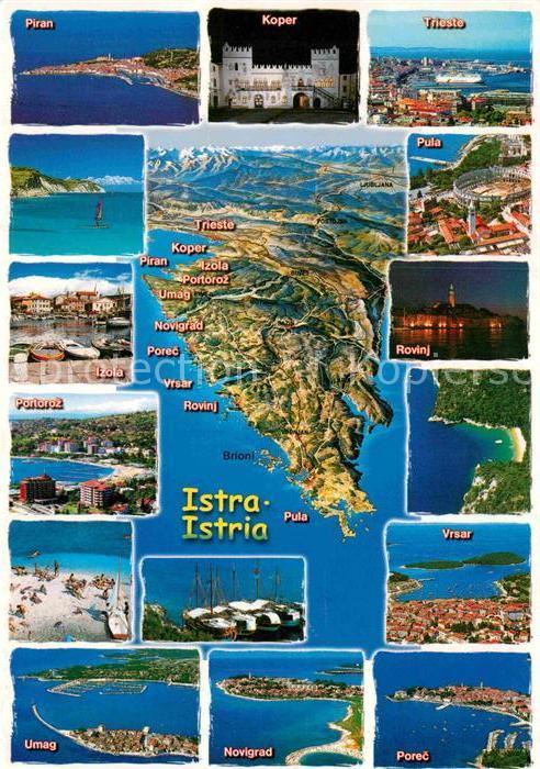 AK / Ansichtskarte Piran Landkarte Koper Trieste Portoroz Vrsar Rovinj Kat. Piran