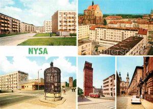 AK / Ansichtskarte Nysa Siedlung Wohnblocks Kirche Brunnen Turm Innenstadt Kat. Neisse Oberschlesien