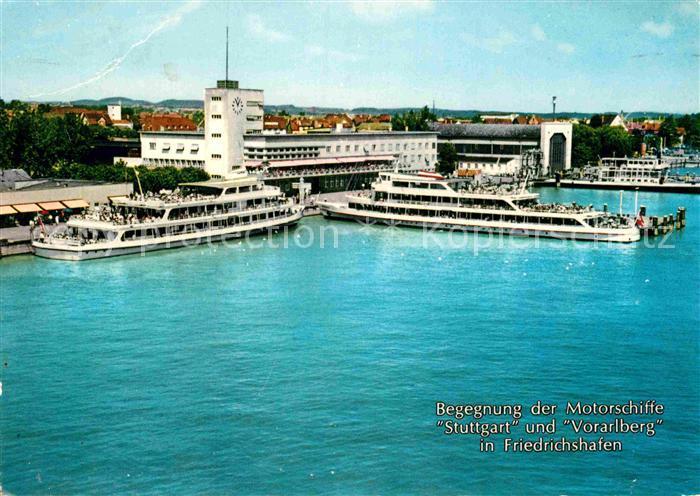AK / Ansichtskarte Motorschiffe Stuttgart Vorarlberg Friedrichshafen Bodensee Hafenbahnhof  Kat. Schiffe