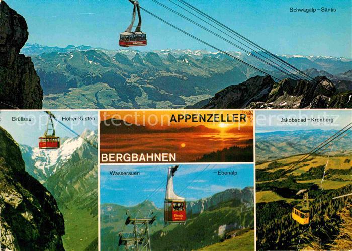 Ak Ansichtskarte Seilbahn Appenzeller Bergbahnen Schwaegalp Saentis Bruelisau Hoher Kasten Kat Bahnen