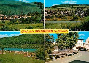 AK / Ansichtskarte Holzhausen Greifenstein Hessen Panorama Ulmtal Badestrand Gasthof Pension Zur Linde