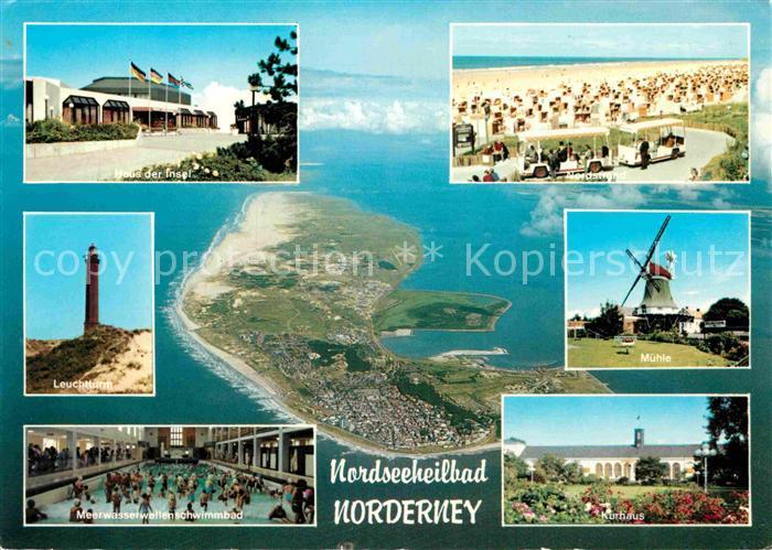 AK / Ansichtskarte Norderney Nordseebad Haus der Insel Nordstrand Windmuehle Leuchtturm Meerwasserschwimmbad Kurhaus Insel Fliegeraufnahme Kat. Norderney 0