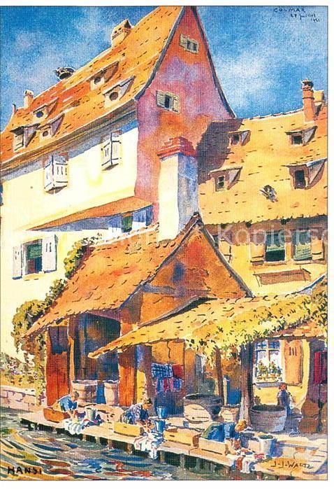 AK / Ansichtskarte Hansi Waltz J J Les lavandieres Alsaciennes en plein effort  Kat. Kuenstlerkarte