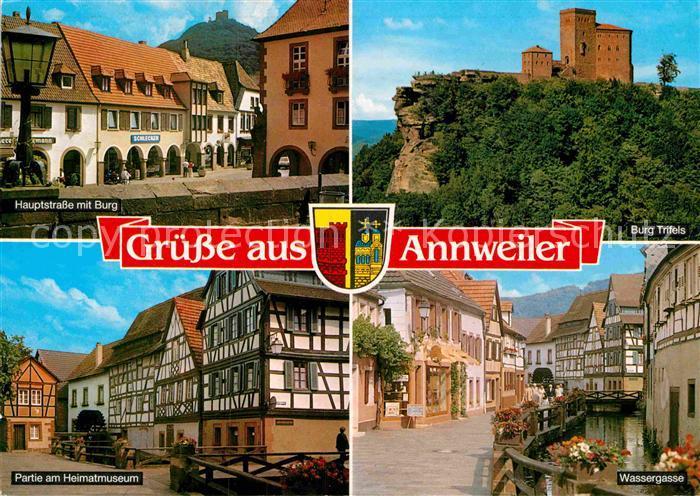 AK / Ansichtskarte Annweiler Trifels Hauptstrasse mit Burg Trifels Wassergasse Heimatmusem Kat. Annweiler am Trifels