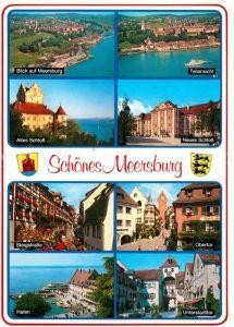 AK / Ansichtskarte Meersburg Bodensee Fliegeraufnahme Seepartien altes und neues Schloss Hafen Obertor Steigstrasse Unterstadttor Kat. Meersburg