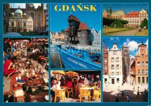 AK / Ansichtskarte Gdansk Kirche Krantor Park Platz Innenstadt Strassencafe Flohmarkt Kat. Gdansk