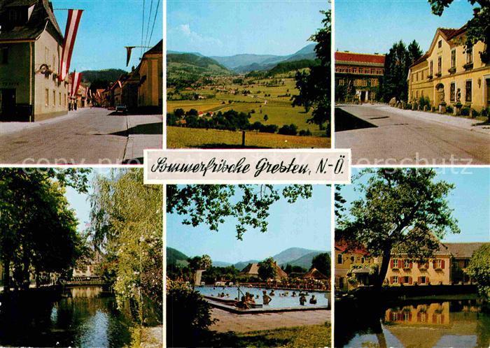 AK / Ansichtskarte Gresten Teilansichten Partie am Fluss Freibad Landschaftspanorama Kat. Gresten