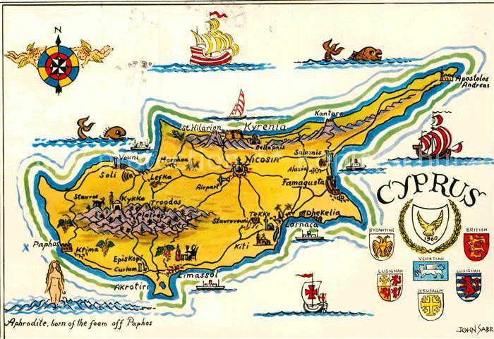 Ak Ansichtskarte Cyprus Zypern The Island Of Venus Landkarte Kat