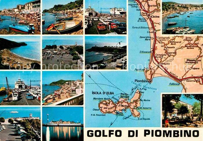 AK / Ansichtskarte Piombino Strand Faehre Hafen Dampfer Inselkarte