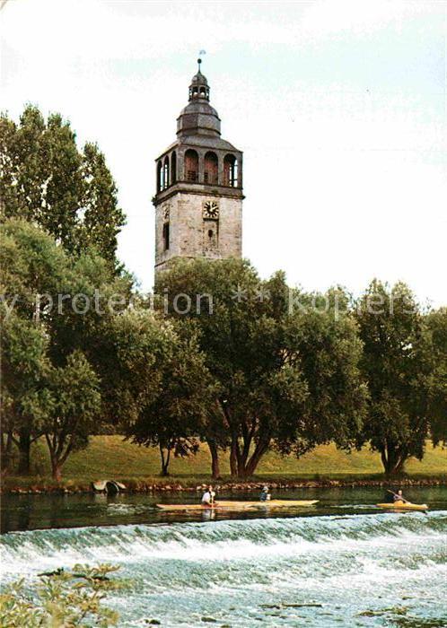 AK / Ansichtskarte Bad Sooden Allendorf St Crucius Kirche mit Werrawehr Kat. Bad Sooden Allendorf