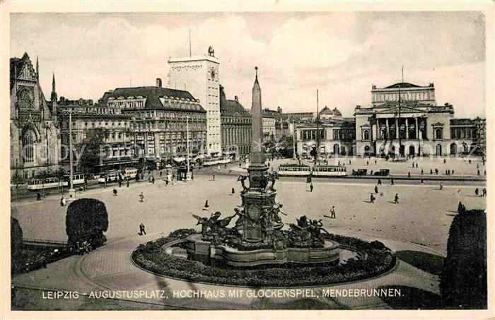 AK / Ansichtskarte Strassenbahn Leipzig Augustusplatz Hochhaus Glockenspiel Mendebrunnen  Kat. Strassenbahn