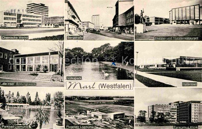 AK / Ansichtskarte Marl Westfalen Bergstrasse Paracelsus Klinik Chemische Werke Flugplatz Loemuehle Kat. Marl