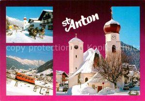 AK / Ansichtskarte St Anton Arlberg Pferdeschlitten Drahtseilbahn Kirche Kat. St. Anton am Arlberg