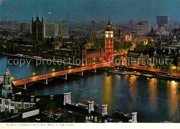 AK / Ansichtskarte London The House of Parliament and the River Thames by Night Kat. City of London