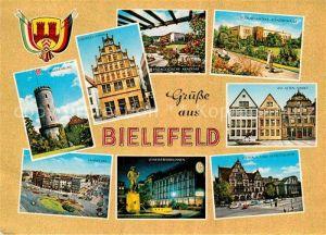 AK / Ansichtskarte Bielefeld Oetker Konzerthalle Cruwell Haus Sparrenburg Lahnplatz Leineweberbrunnen Stadttheater Kat. Bielefeld