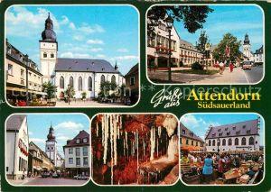 AK / Ansichtskarte Attendorn Kirche Innenstadt Markt Tropfsteinhoehle Kat. Attendorn