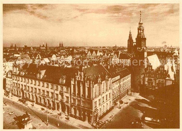 AK / Ansichtskarte Wroclaw Blick vom Hochhaus am Ring auf inneren Ringblock nach Nordosten Kat. Wroclaw Breslau