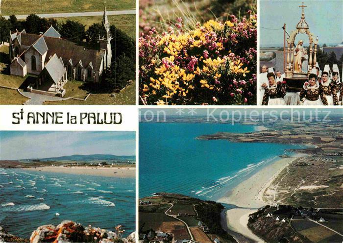AK / Ansichtskarte St Anne La Palud Bretagne Tracht Fliegeraufnahme Kirche Strand
