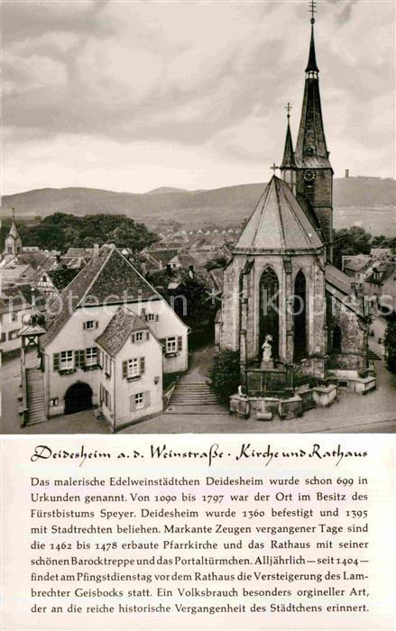 AK / Ansichtskarte Deidesheim Kirche Rathaus Kat. Deidesheim