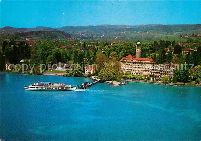 AK / Ansichtskarte Bad Schachen Lindau Hotel am See Faehre Bootsanleger Fliegeraufnahme Kat. Lindau (Bodensee)
