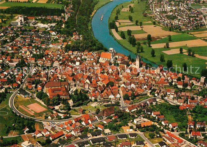 AK / Ansichtskarte Bad Wimpfen Fliegeraufnahme mit Neckar Kat. Bad Wimpfen