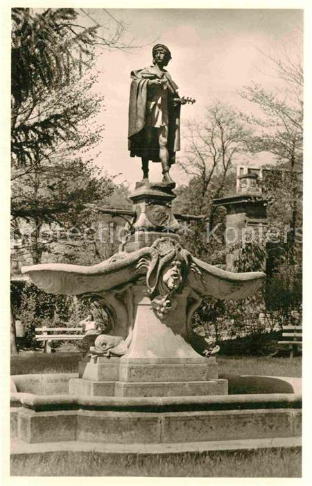 AK / Ansichtskarte Schwaebisch Gmuend Stadtgarten Brunnen Der Geiger von Gmuend Kat. Schwaebisch Gmuend