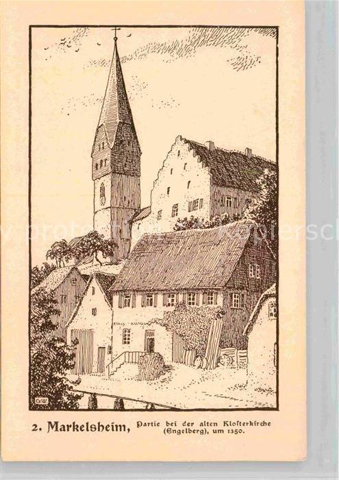 AK / Ansichtskarte Markelsheim Alte Klosterkirche Engelberg Federzeichnung Wedepohlmarke Kat. Bad Mergentheim