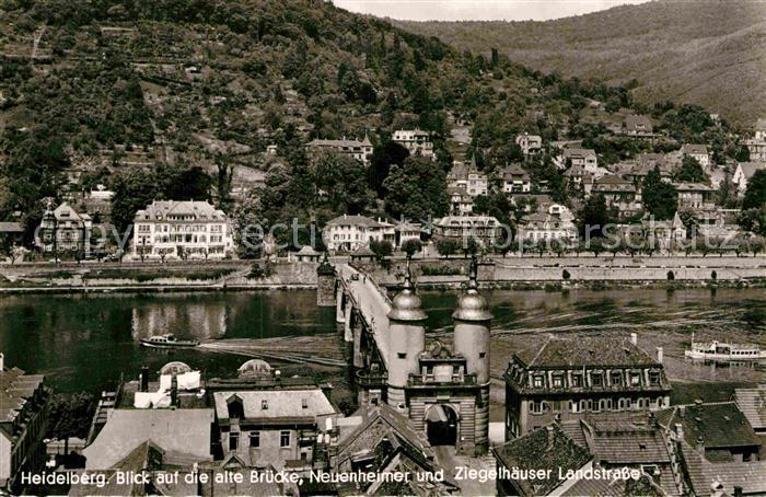 AK / Ansichtskarte Heidelberg Neckar Blick auf alte Bruecke Neuenheimer und Ziegelhaeuser Landstrasse Kat. Heidelberg