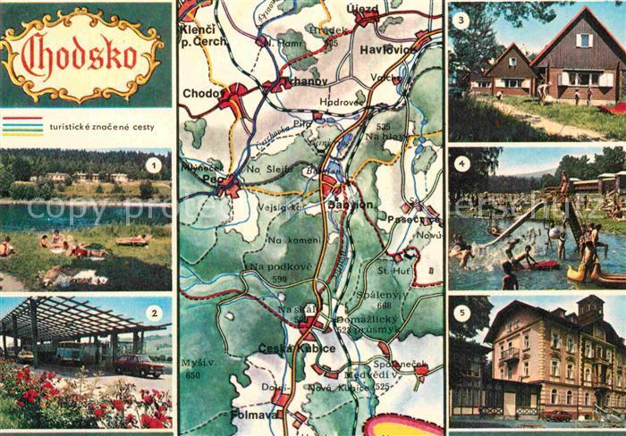 AK / Ansichtskarte Chodsko Pec pod Cerchovem Folmava Pila Baylon Ceska Kubice Landkarte Kat. Tschechische Republik