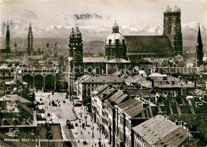 AK / Ansichtskarte Muenchen Stadtbild mit Ludwigskirche Frauenkirche Gebirge Kat. Muenchen