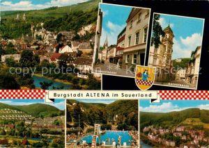 AK / Ansichtskarte Altena Lenne Stadtpanorama Lennestrasse Bachstrasse Freibad Kat. Altena