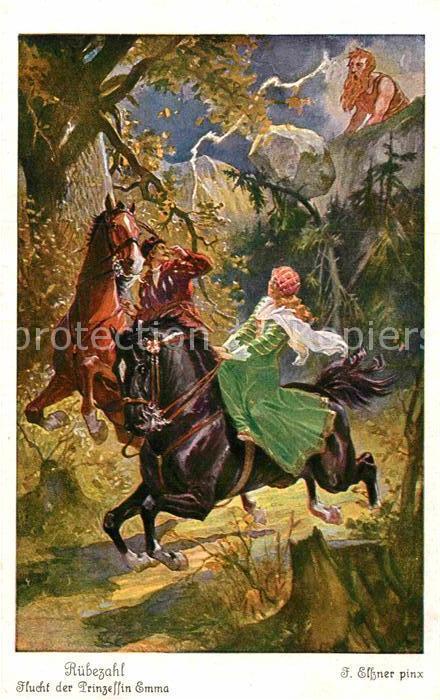 AK / Ansichtskarte Maerchen Sagen Ruebezahl Flucht der Prinzessin Emma F. Elssner Nr. 3889 Serie 157 Kat. Maerchen und Sagen