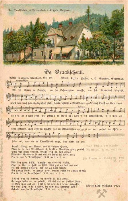 AK / Ansichtskarte Liederkarte Da Draakschenk Breitenbach Erzgebirge Litho  Kat. Musik
