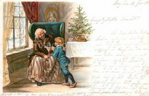 AK / Ansichtskarte Weihnachten Grossvater Kind Weihnachtsbaum Kinderspielzeug Litho  Kat. Greetings