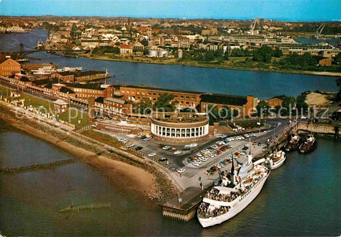 AK / Ansichtskarte Wilhelmshaven Nordseebad Suedstrand mit Strandhalle und MS Wilhelmshaven Fliegeraufnahme Kat. Wilhelmshaven