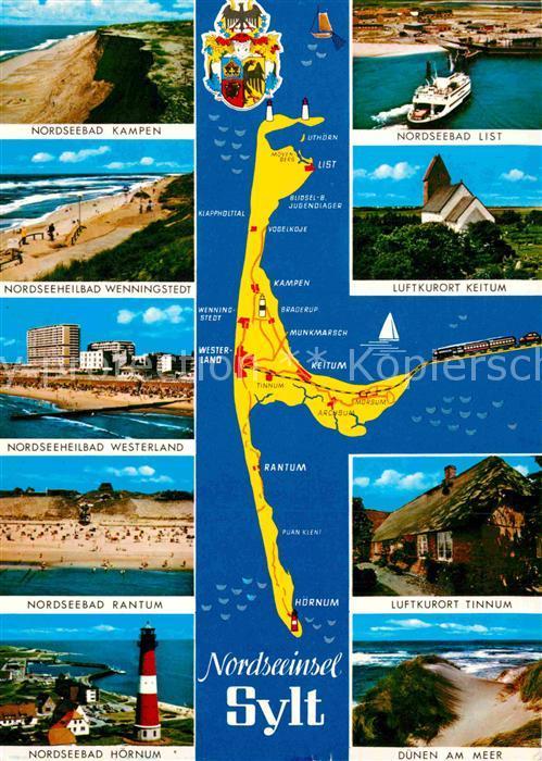 AK / Ansichtskarte Insel Sylt Nordseebaeder der Insel Strand Leuchtturm Landkarte Wappen Kat. Westerland