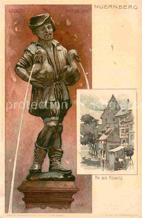 AK / Ansichtskarte Nuernberg Pegnitz Gaensemaennchenbrunnen Kuenstlerkarte K. Mueller  Kat. Nuernberg