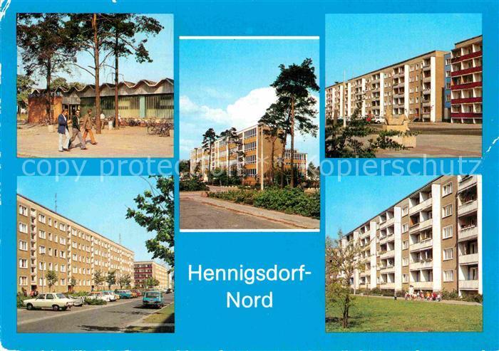 AK / Ansichtskarte Hennigsdorf Kaufhalle Schule Hradecker Strasse Rigarer Strasse Strasse der Freundschaft Kat. Hennigsdorf