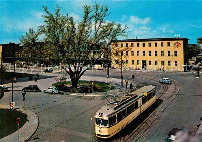 AK / Ansichtskarte Strassenbahn Ludwigshafen Platz am Bahnhof  Kat. Strassenbahn
